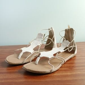 Madeline Suart - Tan/Cream Strapped Sandals